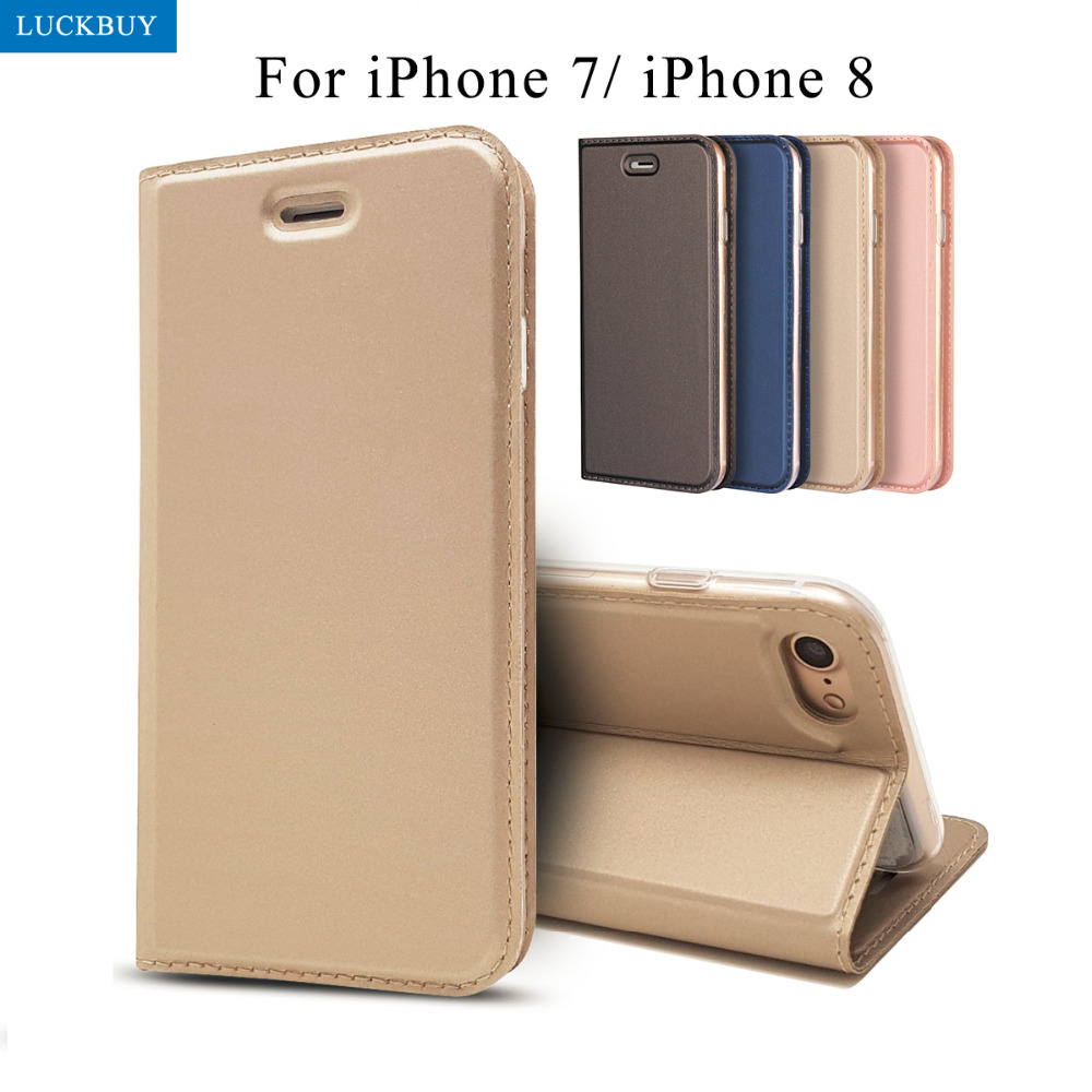 LUCKBUY New Arrival Flip Case for iphone 7 luxury Slim PU Leather Book Style Phone Cover Coques for iPhone 8 4.7inch capa