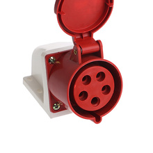 цена на 32A 5pin Industrial Wall Socket Plug 240-415V Weatherproof IP44 3P+N+E Surface Mount Socket