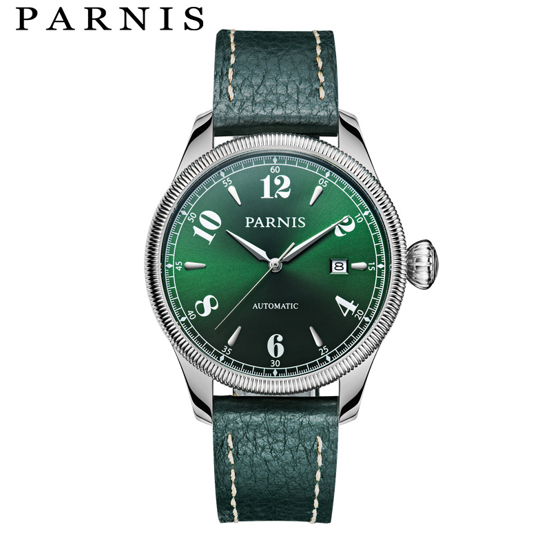 Casual Parnis Men Watch Watches 43mm Silver Case Sapphire Crystal Auto-Date Top Grade Brand Mens Automatic Watch Men Hour Clock цена и фото