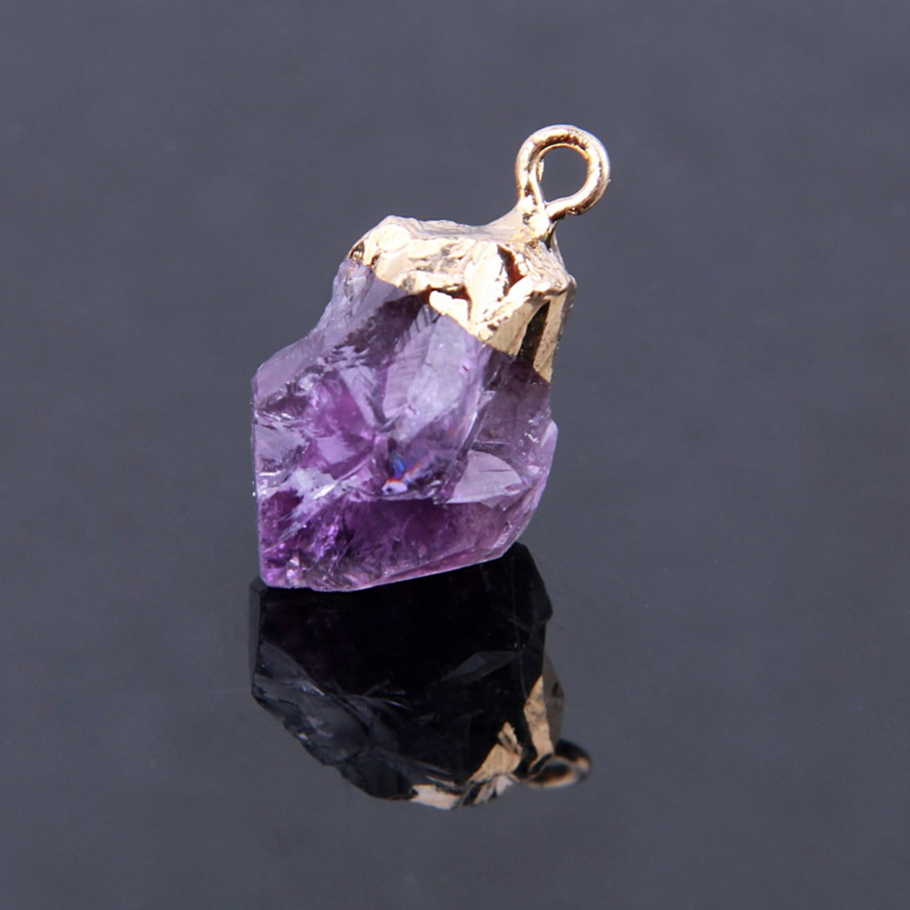raw in gold triple amethyst pin electroplated necklace pendant