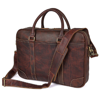 Genuine Leathe men 's handbag 15 – inch computer bag business shoulders Messenger bag  lapot Briefcases Briefcases