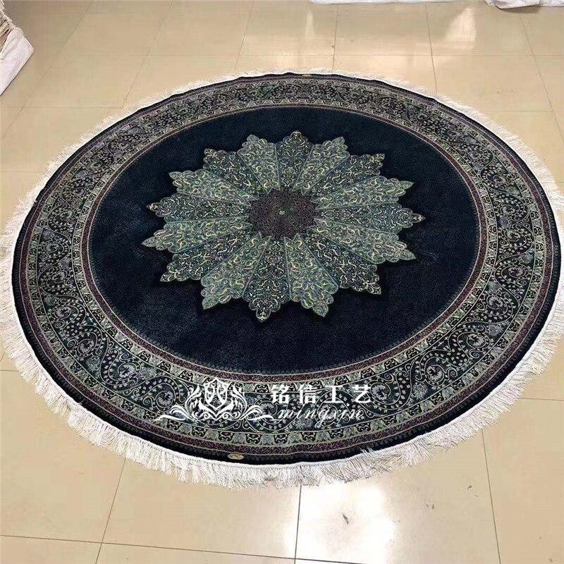 8'x8' tapis de soie rond noué à la main tapis de soie fait main décor de salon