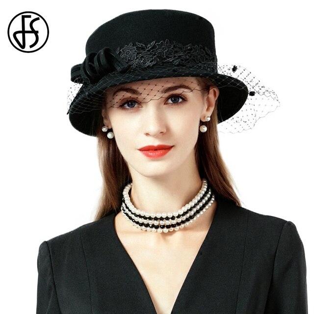 FS Women Black Hat Veils Winter 100% Australian Wool Felt Fedoras Wide Birm  Elegant Bowler Ladies Church Hats Chapeau Femme aca9e985c8b