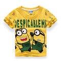Nuevo 2016 niños niñas de algodón camiseta Despicable Me 2 esbirros de manga corta para niños del bebé de la alta calidad camisetas Tee ropa infantil