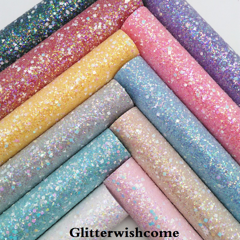 Glitterwishcome 21X29CM A4 Size Vinyl For Bows Crystal Chunky Glitter Leather Fabric Vinyl For Bows, GM164A