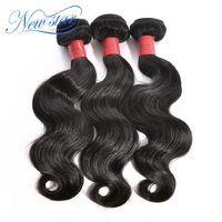 Guangzhou new star hair Brazilian virgin human unprocessed body wave 3 pieces/lot pure color hair extensions double weft weaving