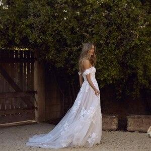 Image 4 - תחרה שמלות כלה 2020 כבוי כתף אפליקציות קו הכלה שמלת נסיכת Boho חתונה שמלת משלוח חינם גלימת דה mariee