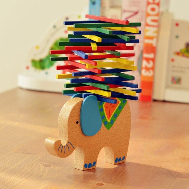 E58 Обучающие слоненок верблюд баланс beamChildren образовательные родитель-ребенок игры, игрушки, Деревянные Игрушки Развитие Мозга
