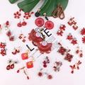 Женские серьги-подвески с искусственным жемчугом LUBOV, 32 вида, с инкрустированным красным кристаллом, геометрической формы, стразы