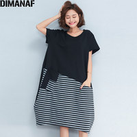 DIMANAF Women Dress Plus Size Summer Casual Cotton Patchwork Striped Female Short Sleeve Colorblock Loose Spliced