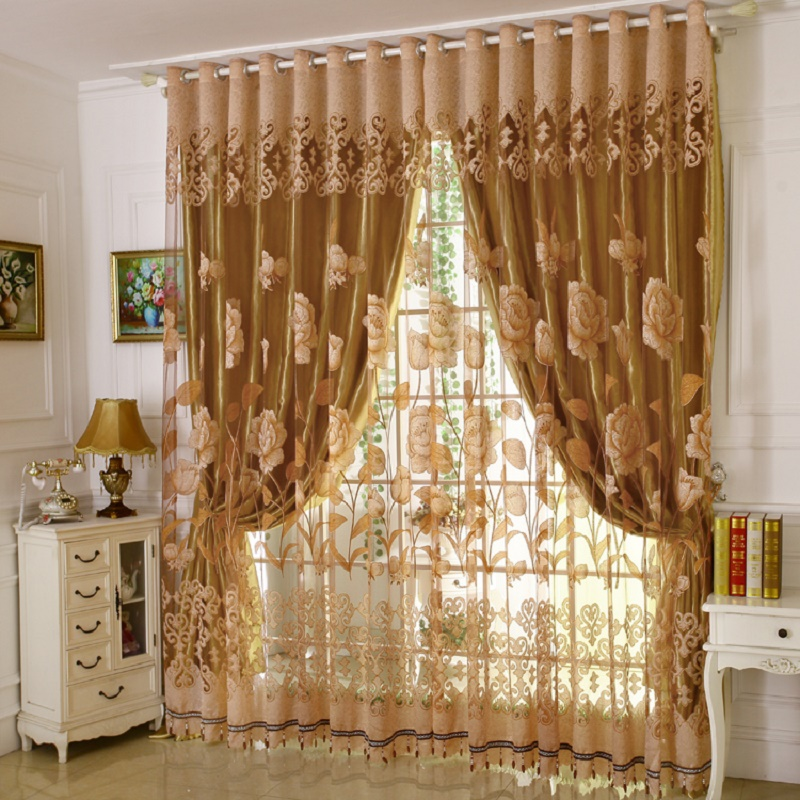 1 PC Curtain and 1 PC Tulle Luxury Burnout Window Curtains Set for Living Room European