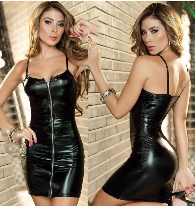 N60 Women s Faux leather Sexy Club Bondage Dress Set Exotic dancewear costume lingerie font b