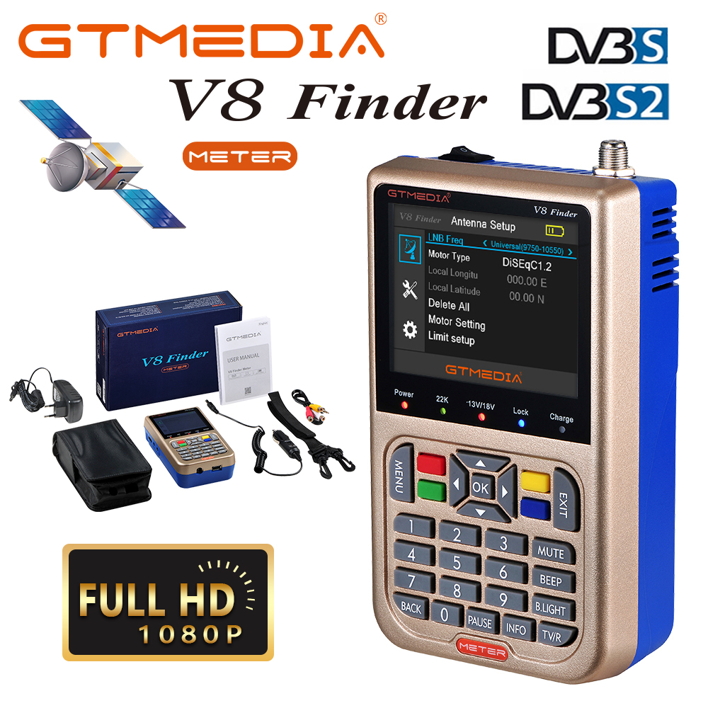GTMEDIA/Freesat V8 Finder Meter HD Digital Satellite Finder High Definition 1080P SatFinder DVB S2/S2X Satellite Meter SatfinderGTMEDIA/Freesat V8 Finder Meter HD Digital Satellite Finder High Definition 1080P SatFinder DVB S2/S2X Satellite Meter Satfinder