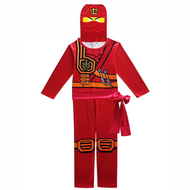 Ninjago Cosplay Costume Kids Red Clothes Sets Children Costume for Kids Fancy Party Dress Ninja Cosplay Superhero Suits