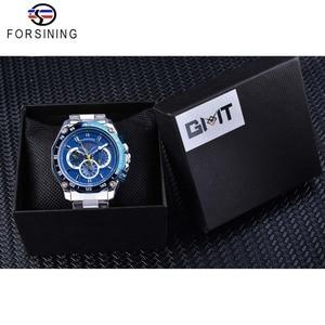 Image 5 - Forsining 2019 nowy niebieski projekt kompletna kalendarz 3 małe pokrętło srebrny ze stali nierdzewnej automatyczne mechaniczne zegarki dla mężczyzn zegar