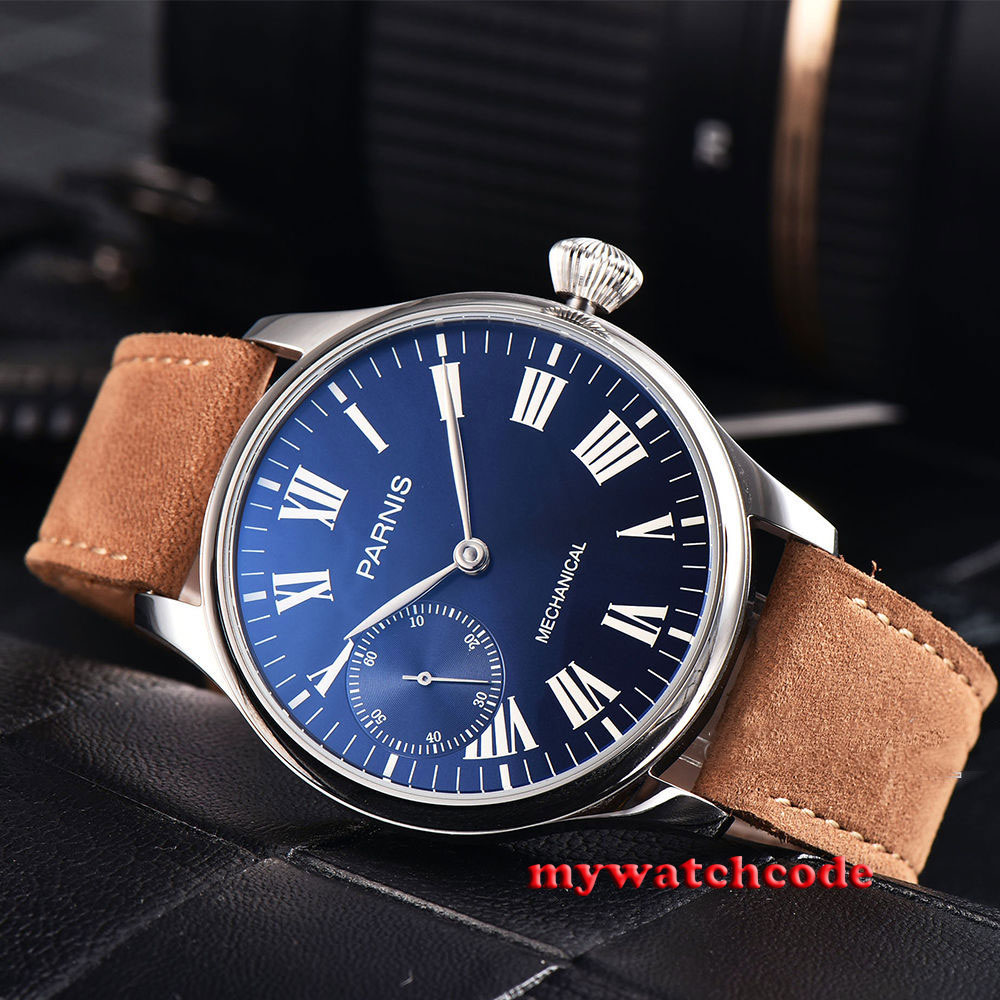 лучшая цена 44mm parnis blue dial 6497 movement hand winding mechanical mens watch P794