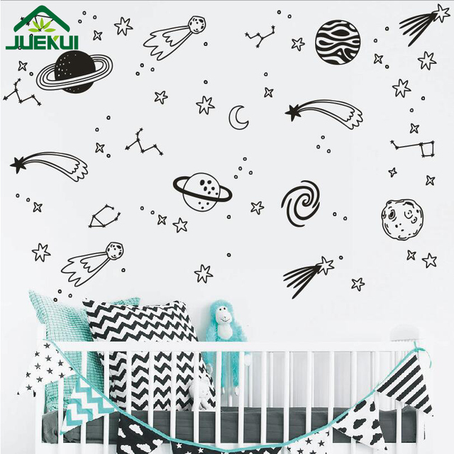 Space Wall Decals Removable Vinyl Wall Sticker For Kids Room Boy - Vinyl wall decals removable