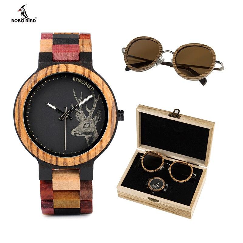 BOBO BIRD Wooden Sunglasses and Top Brand Ladies Men Quartz Watches in Suit Present Box Gift