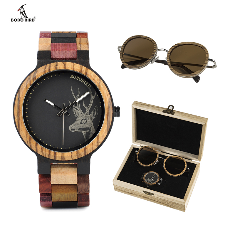 BOBO oiseau lunettes de soleil en bois et Top marque dames hommes montres à Quartz en costume présent boîte cadeau relogio feminino montre-bracelet en bois