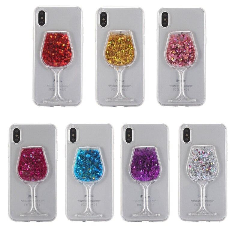 Liquid Quicksand cute Cartoon Duck Transparent Cases For iphone 7 8 Plus Cover Goblet Wine For iphone 6 6s Plus Coque capa