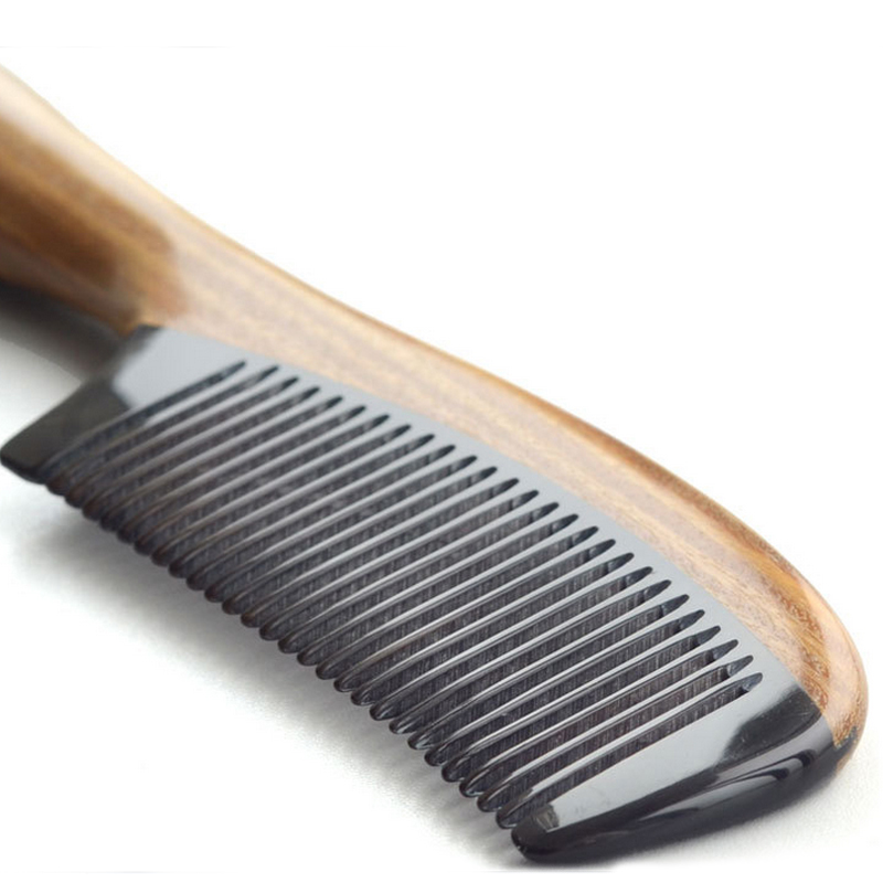 professional Handmade hair brush natural ox horn comb Green sandalwood Comb Hair Style Designer