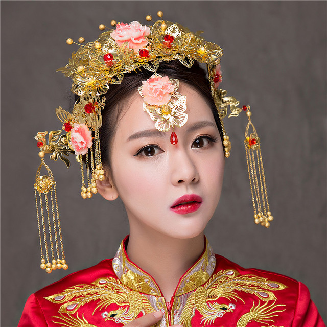 Vintage Chinese Traditional Bridal Headdress Tassels Chain Hairpin Gold Color Women Headwear Wedding Jewelry Hair