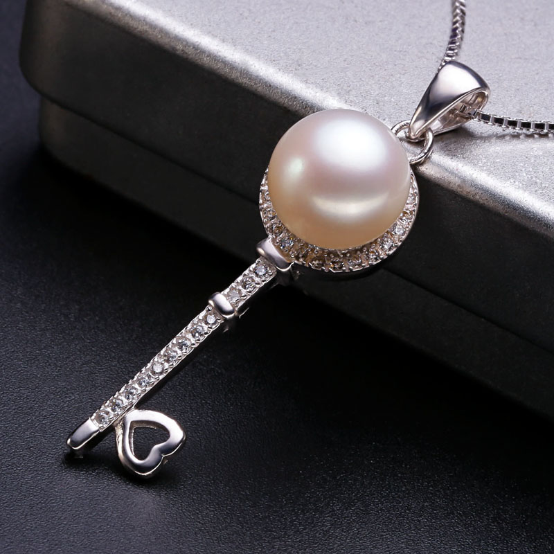 Women Gift word 925 Sterling silver real [pearl] love key, freshwater pearl pendant necklace, 925 silver distribution chain mail