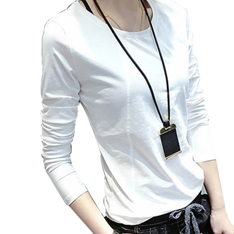 Solid T Shirt Women Long Sleeve Womens Tops 2018  Autumn Tee Shirt Women Korean Style T-Shirt Cotton New Plus Size Tshirt