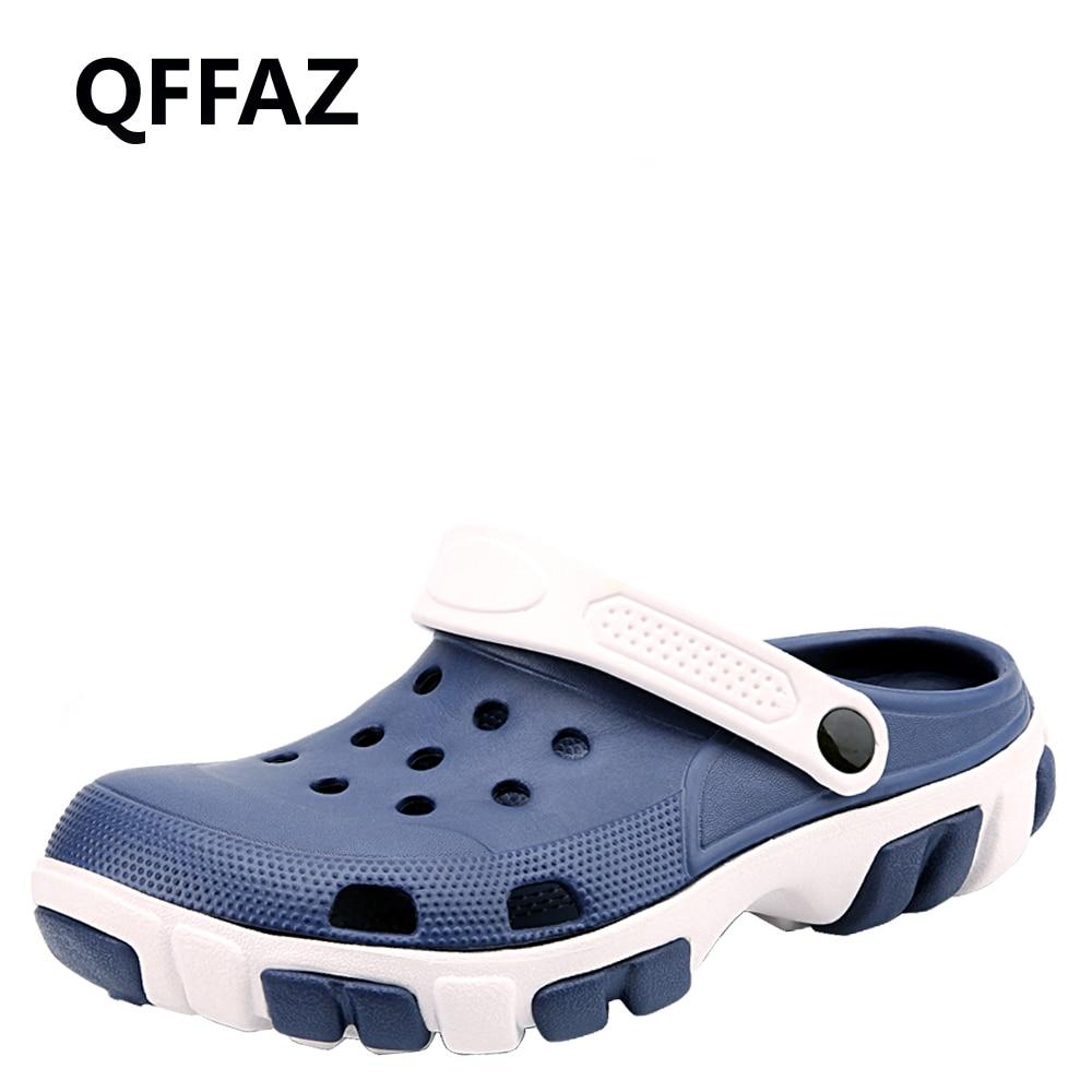 QFFAZ Comfortable Men Beach Sandals Memory Foam Soft Clogs Casual Garden Shoes For Men Slip On Hospital Work Shoes