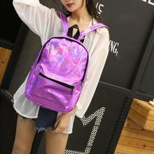 Holographic Backpack Women Large Capacity College Style Casual Girls Shiny Shoulder Bags School Bags Students Patent Leather Bag