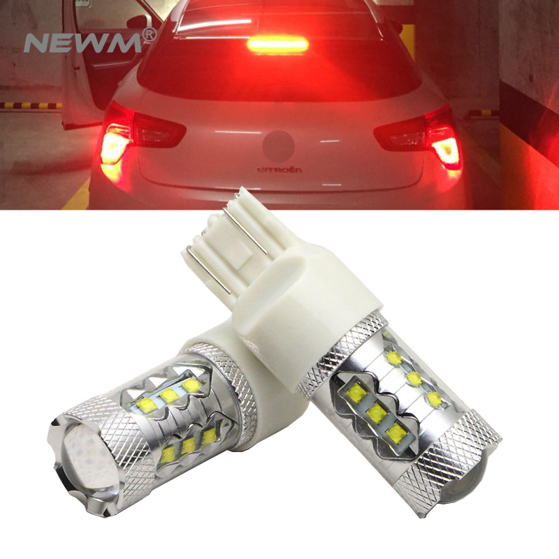 2x High Power 30W 50W 80W CREE Chip <font><b>T20</b></font> <font><b>7443</b></font> W21/5W Auto <font><b>LED</b></font> Bulbs Car Reverse Lights Signal Backup DRL Lights White Red Amber image