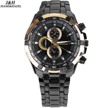 Mens Stainless Steel Band Watch with Big Round Dial Male Analog Quartz Metal Sports Wristwatch Relogio Masculino Montre Homme
