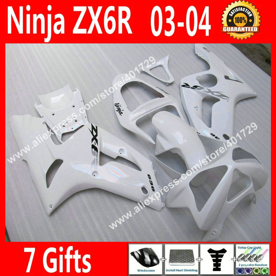 Brand new Fairings for motercycle 2003 2004 Kawasaki Ninja ZX6R 03 04 popular white bodywork fairing part HM63