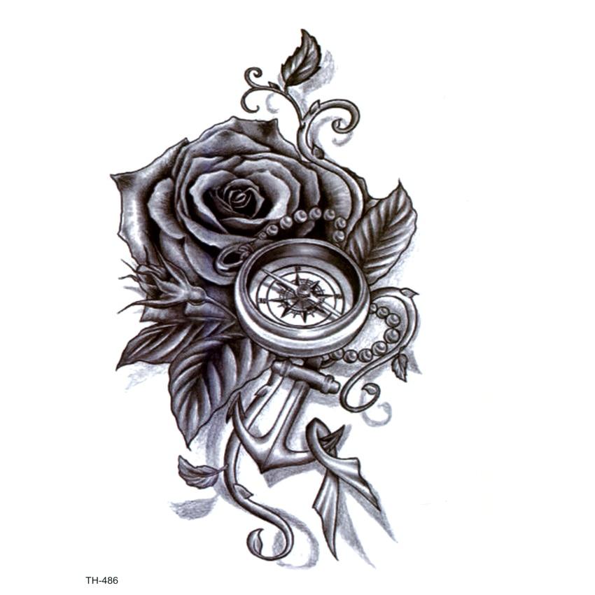 Rose Flower Waterproof Temporary Tattoos Men Fake Tattoo Body Tatoo Sleeve Art Tattoo Tatuajes Henna Tattoo Stickers Temporary Tattoos Aliexpress