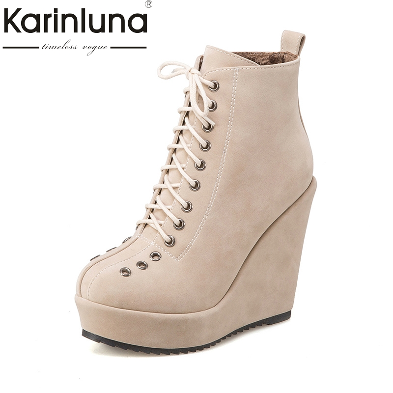 KarinLuna 2018 Platform Large Size 34-43 Ankle Boots Women Shoes Boots Fashion Lace Up Wedges High Heels Woman Shoes morazora fashion punk shoes woman tassel flock zipper thin heels shoes ankle boots for women large size boots 34 43