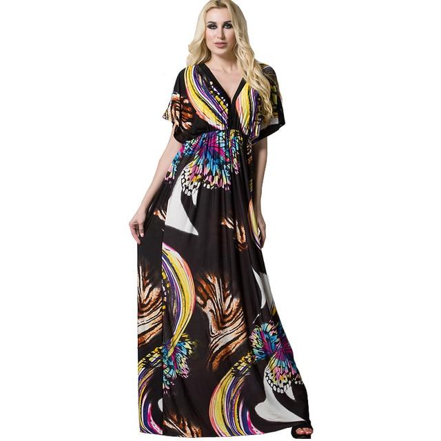 Femmes Plus Taille Robes Grandes Tailles Empire Taille Papillon Fleur robe  Longue Robe 5xl 6xl 7xl 37fa395e5cd3