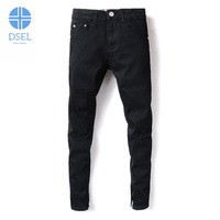 Black Color Denim Mens Jeans High Street Knee Hole Ripped Skinny Jeans Men DSEL Brand Elastic