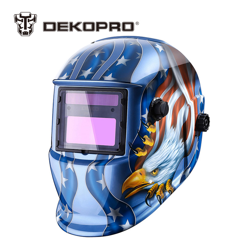 DEKOPRO Eagle Solar Auto Darkening MIG MMA Electric Welding Mask/Helmet/Welder Cap/Welding Lens for Welding Machine wedling tool football pro solar auto darkening shading tig mig mma arc welding mask helmet welder cap for welding machine