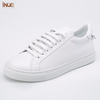 INOE 2017 New Fashion Style Genuine Cow Leather Casual Spring Shoes Flats Leisure Summer Shoes High