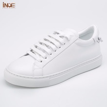 INOE new fashion style genuine cow leather casual spring wedding shoes for women flats leisure summer shoes high quality white