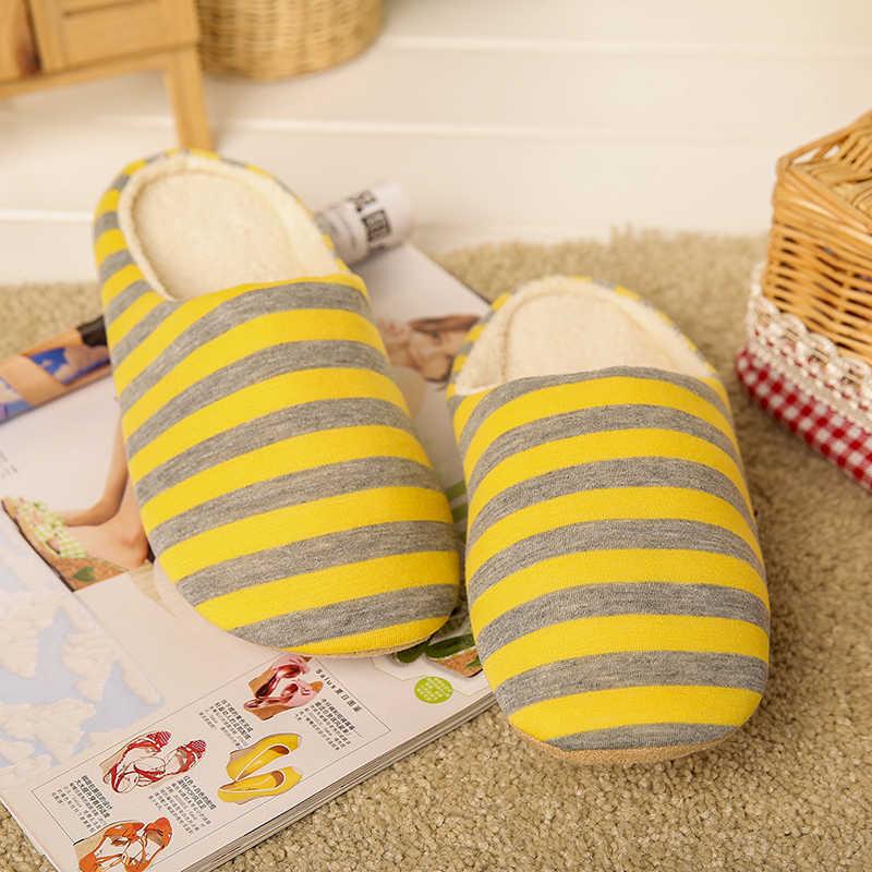 مخطط لينة أسفل المنزل النعال القطن أحذية دافئة النساء ارضيات داخلية النعال غير زلات أحذية للمنزل نوم امرأة النعال