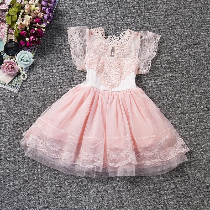 049838bb3 Vestido de encaje para niñas de manga corta vestido de princesa ropa para  niños gris Rosa 3-7 ...