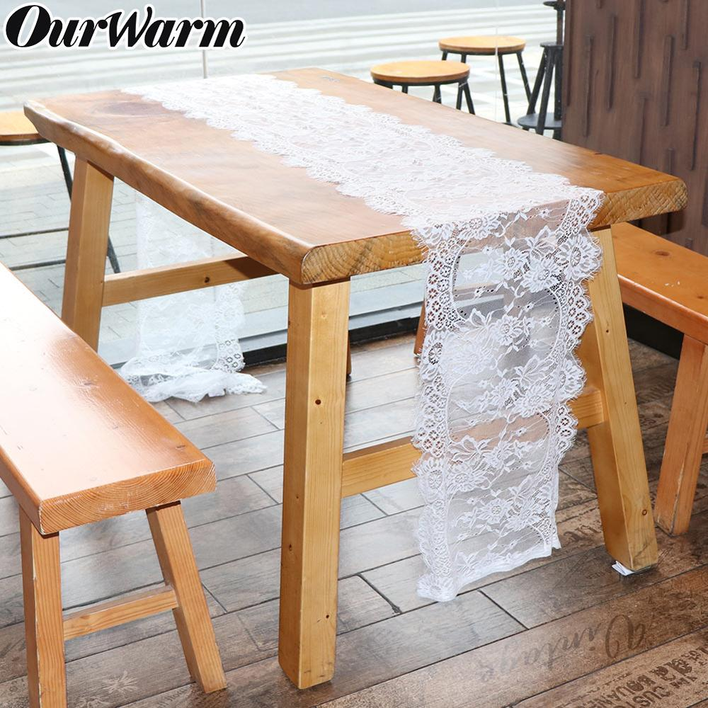 OurWarm 10pcs/pack White Wedding Floral Lace Table Runner Table Cloth Chair Sash Banquet Wedding Party Table Decoration 35*300cm