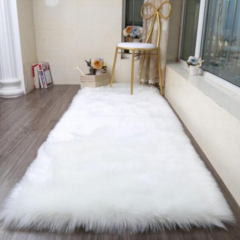 Soft Artificial Long Wool Faux Sheepskin Round Carpet Living Room Bedroom Rug Hanging Chair Fluffy Rugs Bay Window Sofa Mat