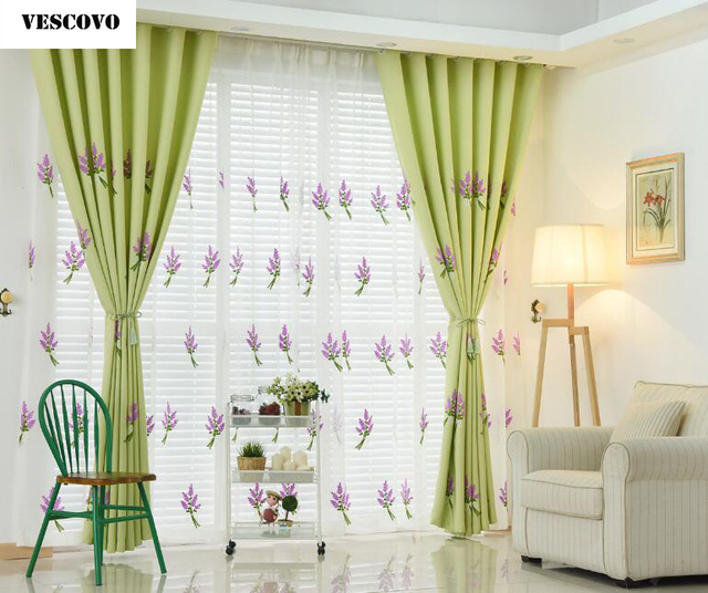 Vescovo Korean Style Green Blue Pink Lavender Embroidered Voile And Curtains For Bedroom Living Room