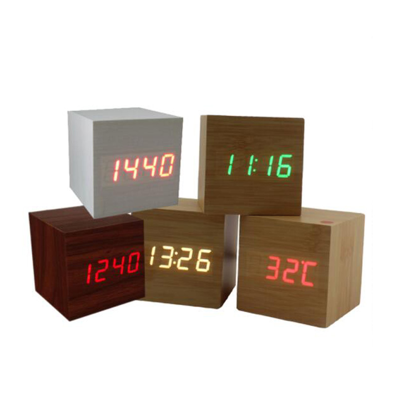 Clocks Multicolor Sound Control Wooden Wood Square Led Alarm Clock Desktop Table Digital Thermometer Wood Usb/aaa Date Display Attractive Designs;