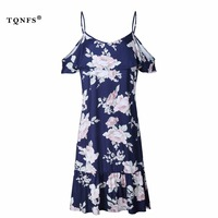 TQNFS Sexy Off Shoulder Summer Dress 2018 Floral Print Boho Dress Women Ruffles Pleated Casual Female
