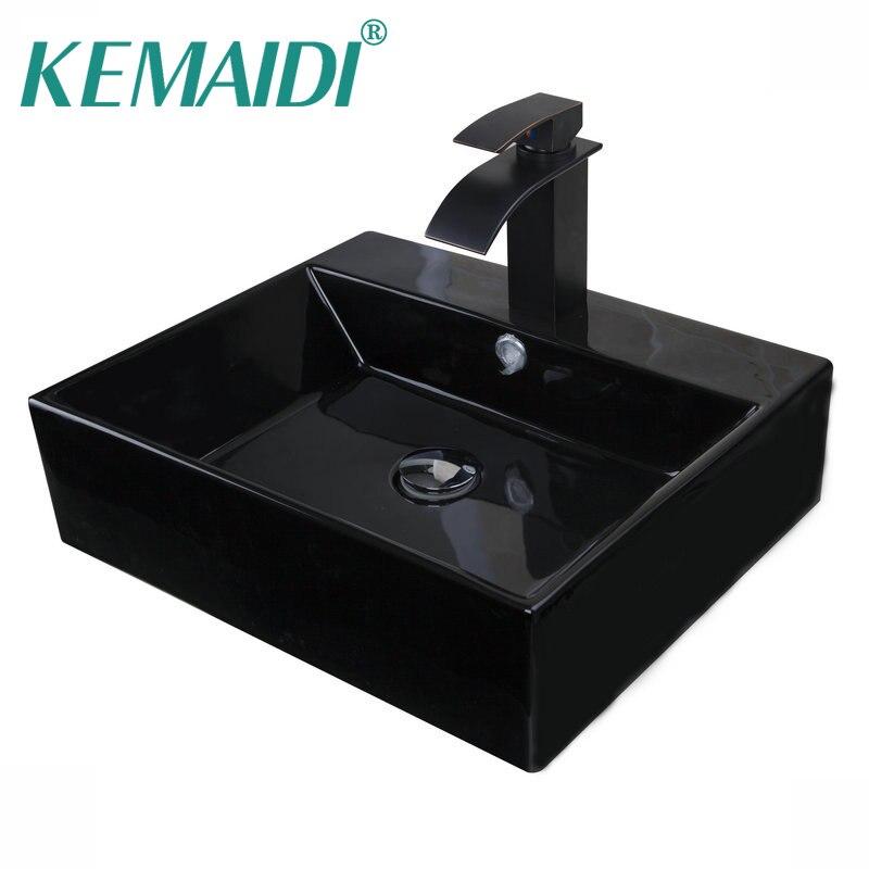 KEMAIDI moderne rectangulaire salle de bains shampooing noir en céramique ronde comptoir bol éviers navire bassins Pop Up Drain salle de bains éviers
