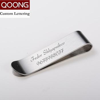 QOONG con grabado personalizado de acero inoxidable plata Delgado bolsillo dinero tarjeta de visita con clip tarjeta de crédito efectivo cartera QZ40-008