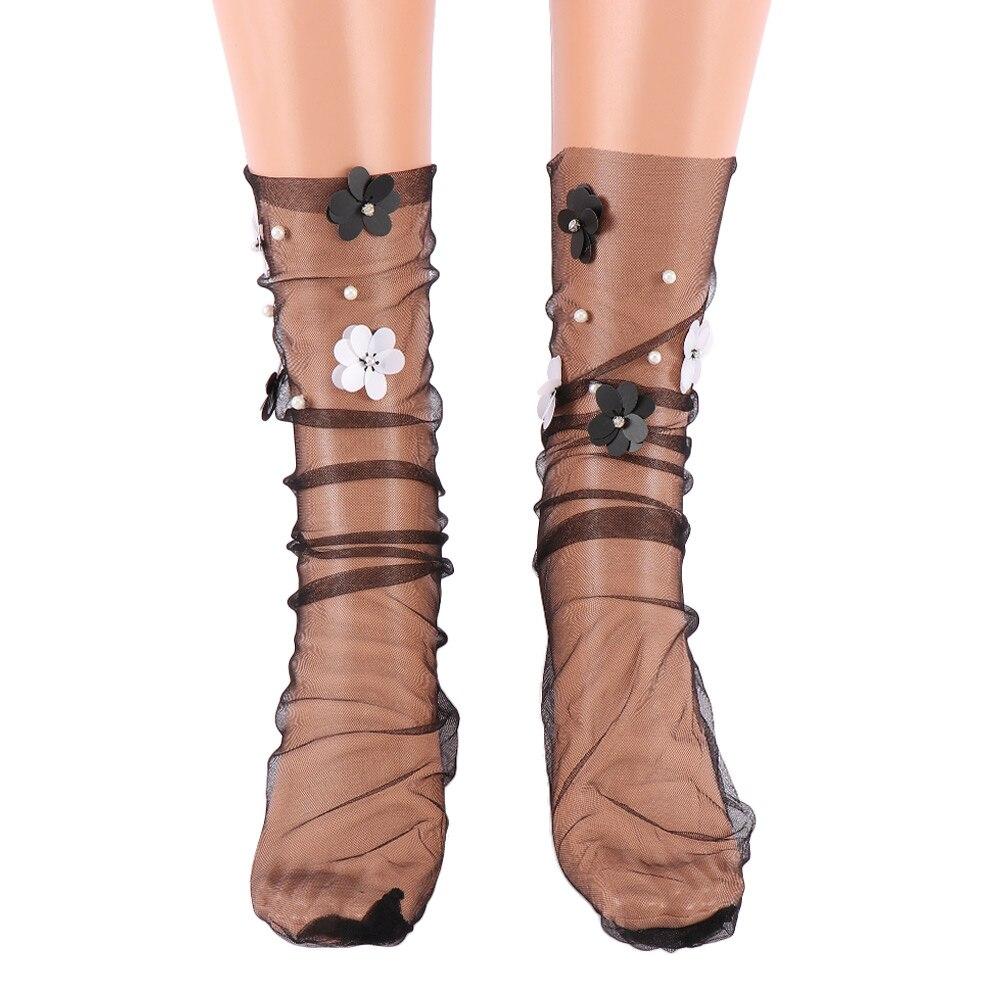 Women's Handmade Sequins Flowers Thin Socks Lolita Girl's Transparent Mesh Floral Imitation Pearl Socks Gauze Sock Hosiery